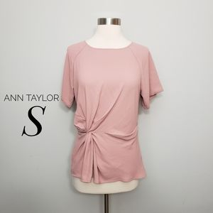 ANN TAYLOR pink twist front short sleeve top